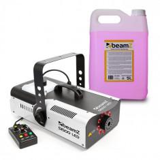 Beamz S1500LED, mașină de ceață inclusiv 5 litri lichid de ceață, 1500 W, 9 x 3 W RGB-LED-uri DMX