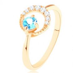 Inel din aur 375 - semilună decorată cu zirconii mici transparente, un topaz albastru - Marime inel: 53