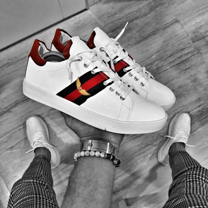 Pantofi pentru barbati, albi, cu siret, casual, material sintetic - BB317