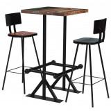 Set de bar, 3 piese, lemn masiv reciclat, multicolor