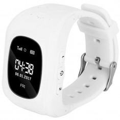 Ceas Smartwatch copii GPS Tracker iUni Q50, Telefon incorporat, Apel SOS, Alb