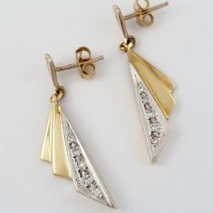 Cercei Aur 18k, Diamante cca. 0.08 ct. in total, 6.56 grame