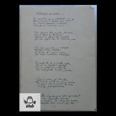 Manuscris/ Caruta cu mere - poem scris si semnat de Bicolae Crevedia