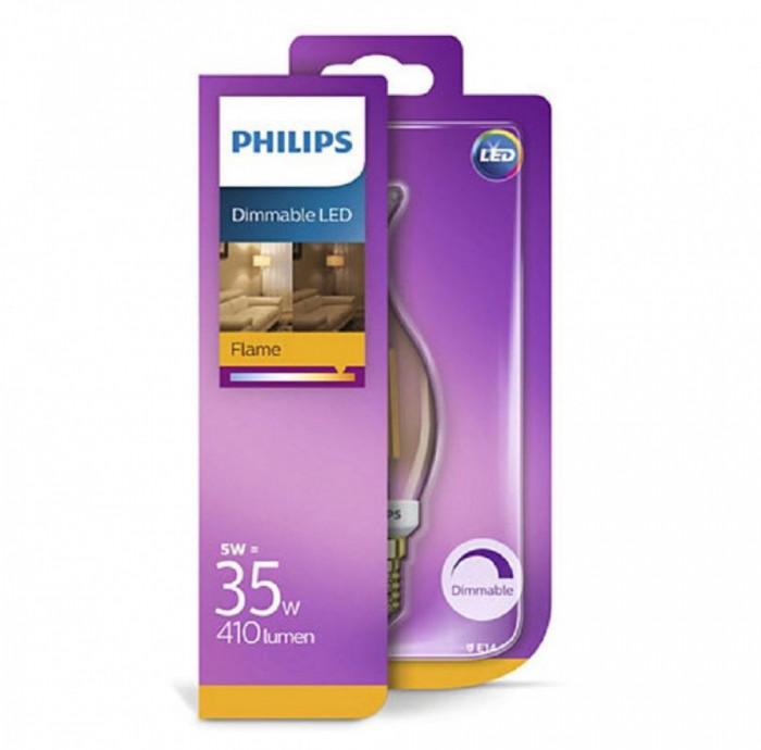 Bec LED lustra Philips 5W (35W) BA35 E14 GOLD D 1SRT4, alb extrem de cald, Intensitate luminoasă reglabilă, temperatura culoare 2500K, 410 lumeni, 220