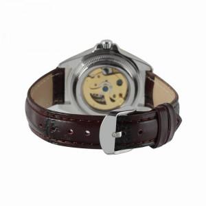 Ceas de dama, Winner schelet automatic-mecanic, bratara din piele neagra, rezistent la zgarieturi, stil fashion + cutie cadou