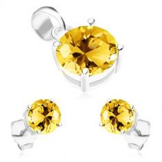 Set realizat din argint 925, cerrcei și pandantiv, zirconii rotunde strălucitoare de culoare galbenă