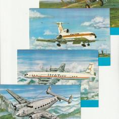 Carti postale ,avioane de pasageri in serviciu TAROM ,Romania.