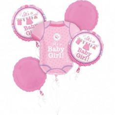 Buchet de baloane botez din folie Shower With Love Girl foto