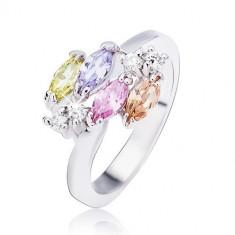 Inel argintiu lucios, zirconii ovale strălucitoare și pietre transparente - Marime inel: 50