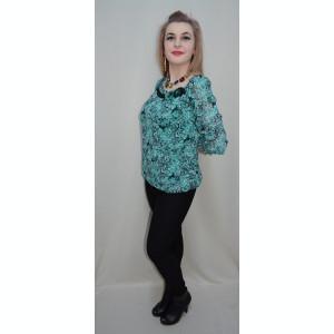 Bluza eleganta, nuanta de turcoaz, maneci trei-sferturi fine