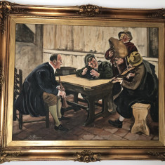 Tablou,pictura veche in ulei,pe panza,inramata,scena cu muzicanti in carciuma, Muzica, Realism