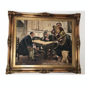 Tablou,pictura veche in ulei,pe panza,inramata,scena cu muzicanti in carciuma