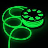Furtun luminos Neon flexibil verde, profil 1.8x2.5 cm, IP66