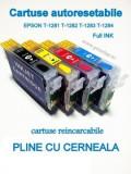 PACHET Cartuse PLINE CU CERNEALA autoresetabile EPSON T1281 T1282 T1283 T1284...