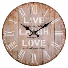 Ceas de perete, model cu mesaj, 33,8 cm, maro