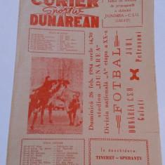 Program meci fotbal DUNAREA CSU GALATI - JIUL PETROSANI (26.02.1984)