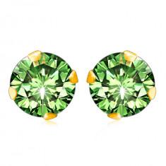 Cercei din aur galben 375 - un zirconiu într-o nuanță de culoare verde deschis