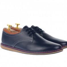 Pantofi casual, sport barbati din piele naturala, TEN338ALBASTRUBOX