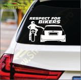 Respect For Bikers Model 3 -Stickere Auto-Cod:ESV-206 -Dim  25 cm. x 16.5 cm.