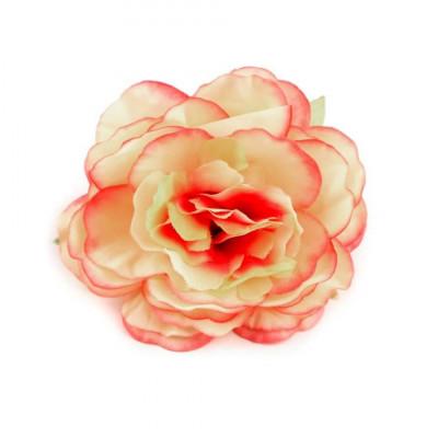 Trandafir artificial, diametru 65 mm, culoare piersica deschisa foto