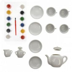 Set ceai portelan cu acuarele, 11 de accesorii - 22152