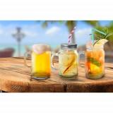 Halbă din sticlă 400 ml tip borcan cu capac perforat, diverse culori, Heinner