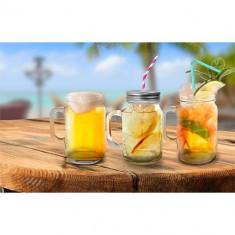 Halbă din sticlă 400 ml tip borcan cu capac perforat, diverse culori
