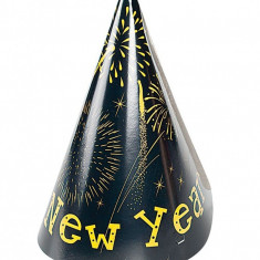 Coifuri petrecere Revelion cu Happy New Year, 22.5 cm, Radar 45486, Set 6 coifuri