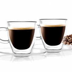 Set 2 cesti si 2 farfurioare Doubled Espresso 50 ml
