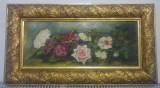 Natura statica cu flori// ulei pe carton, semnat V. Florescu