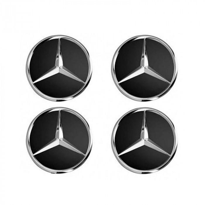 Set 4 Capace jante cu sigla Mercedes Benz, negru, 75mm