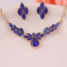 Set bijuterii fashion Flower Blue Crystal