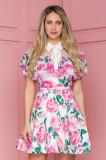 Cumpara ieftin Rochie Stefania alba cu volanase si imprimeuri florale roz