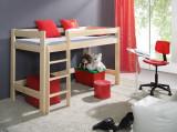 Pat etajat din lemn de pin, cu spatiu de joaca pentru copii Laura, 200 x 90 cm