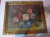 tablou vechi ulei pe panza 54x43 cm boxa