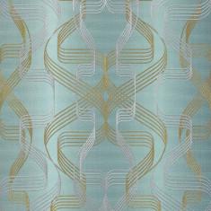 Tapet turcoaz model abstract cu finisaj metalic evidentiat 507-25