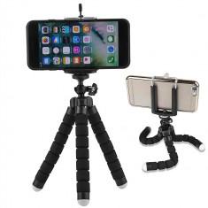 Suport Mini Trepied Flexibil Multifunctional pentru Telefon sau Camera Video, Negru foto