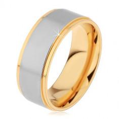 Inel lucios din oțel auriu și argintiu cu două crestături - Marime inel: 70