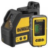 Nivela laser DeWALT, 10m, + - 3 mm, rosu, doua axe in cruce, cu receptor detector DE0892 inclus