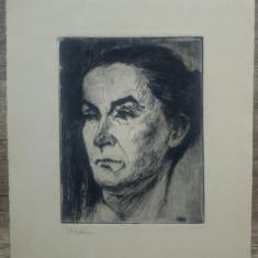 Portret de femeie// gravura