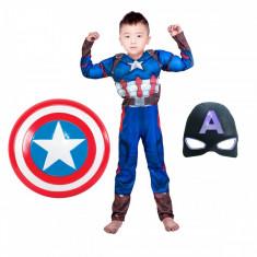 Costum cu muschi Captain America marimea L 7 9 ani scut 31 cm masca LED cadou