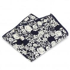 Batista buzunar pentru sacou, model floral, bleumarin navy si alb Casino