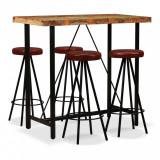 Set mobilier bar, 5 piese lemn masiv reciclat și piele naturală, vidaXL