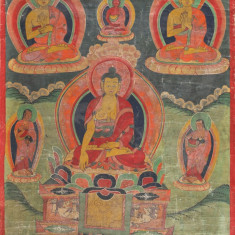Thangka chineza Tibet-pictura Buddha secol 19-originală  - expertizata oficial!, Religie, Ulei, Altul