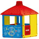 Casuta pentru copii Dolu City House, 3 geamuri, usa cu clapa, semineu, luminator