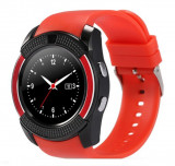 Ceas Smartwatch V8 Rosu HandsFree Bluetooth 3.0 Micro SIM Android Camera 1.3MP