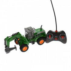 Utilaj de jucarie cu telecomanda, verde, cu sunete si luminte - JC162