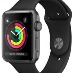 Smartwatch Apple Watch 3, AMOLED Capacitive touchscreen 1.65inch, Bluetooth, Wi-Fi, Bratara Silicon 42mm, Carcasa Aluminiu, Rezistent la apa si praf (