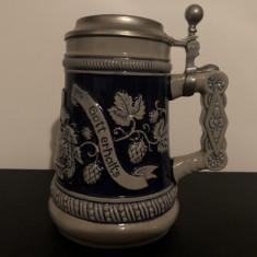 Halba de bere veche,ceramica germana,cu capac metalic