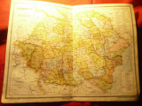 Harta Romaniei Mari pe judete Inst.Cartogr.Unirea Brasov 1923 ,dim.=41x30cm